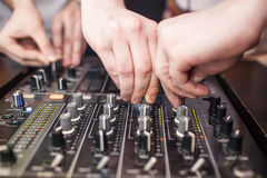 DJ mixing music Stock Photo