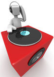 DJ mixing music and dancing Royalty Free Stock Image
