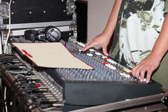 Dj mixing music in recording studio Royalty Free Stock Photography