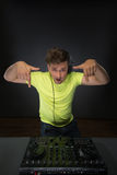 DJ mixing music topview Royalty Free Stock Photo