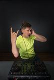 DJ mixing music topview Stock Photos