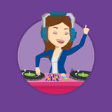 DJ mixing music on turntables vector illustration. Stock Photo