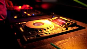 Dj mixing at the night club stock footage