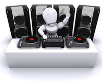 DJ mixing records on turntables Royalty Free Stock Images