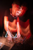 Dj mixing tracks on the party Stock Image