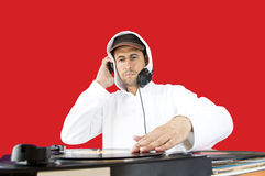 DJ mixing vinyl record Royalty Free Stock Photo