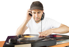 DJ mixing white background Royalty Free Stock Photo