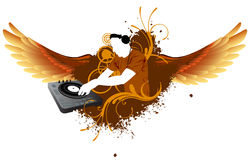 DJ mixing with wings. DJ mixing with red wings stock illustration