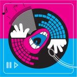 Dj music. Illustration-simbol disc music and dj Stock Photos