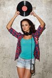 Dj, music. Beautiful girl with headphones Royalty Free Stock Images