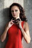 Dj, music. Beautiful girl with headphones Stock Photos