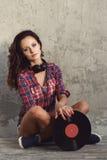 Dj, music. Beautiful girl with headphones Stock Photo