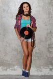 Dj, music. Beautiful girl with headphones Royalty Free Stock Photos