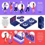 DJ Music Isometric Banners. DJ music 3 horizontal web page banners with disco dancing party equipment installations accessories isolated vector illustration vector illustration