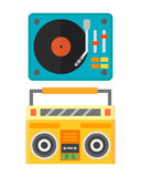 Dj music mixer equipment channels discotheque technology party nightclub mixing vector illustration. Dj music mixer equipment channels discotheque technology Royalty Free Stock Photo
