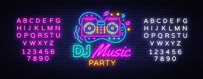 DJ Music Neon sign vector. Night Party Design template neon sign, Dj Sound Advertising light banner, neon signboard. Nightly bright advertising, light vector illustration