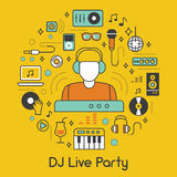 DJ Music Party Line Art Thin Icons Set with Musical Instruments Stock Photos
