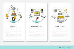 DJ Music Party Linear Business Brochures. Thin Line Icons Set with Musical Instruments Royalty Free Stock Photo