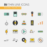 DJ Music Party Linear Thin Icons Set with Musical Instruments Royalty Free Stock Photos