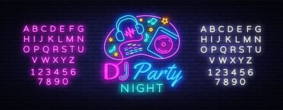 DJ Music Party neon sign vector design template. DJ Concept of music, radio and live concert, neon poster, light banner. Design element, night bright stock illustration