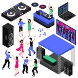 Dj And Music Set. Dj and music isometric set with dancing symbols isolated vector illustration Stock Image