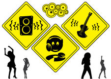 DJ music signs. Clubbing silhouettes with yellow attention signs Royalty Free Stock Photos