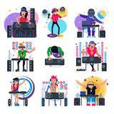 DJ music vector discjockey character playing disco on turntable sound record in nightclub set of jockey people with vector illustration