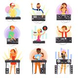 DJ music vector discjockey people character playing disco on turntable sound record in nightclub set of jockey boy girl vector illustration