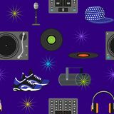 DJ music vector discjockey playing disco on turntable sound record set with headphones and players audio equipment for Royalty Free Stock Image