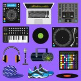 DJ music vector discjockey playing disco on turntable sound record set with headphones and players audio equipment for Stock Photography