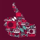 Dj-musiksymboler i handform Arkivfoton