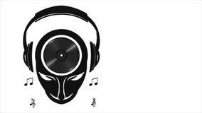 DJ Muzykalny umysł z hełmofonami i taniec Muzycznymi notatkami Ruch grafika 1080 HD ilustracji