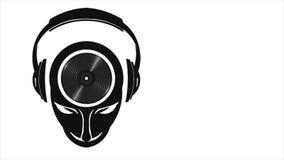 DJ Muzykalny umysł z hełmofonami i Winylowym Bawić się Ruch grafika 1080 HD ilustracja wektor