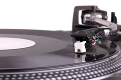 Dj Needle On Spinning Turntable Royalty Free Stock Photography
