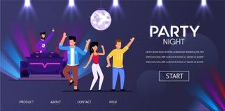 DJ Night Club Party Play Music People Crowd Dance stock illustration