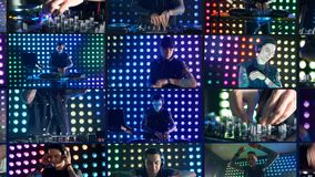 DJ at night club playing music using turntables. Montage, multiscreen background.