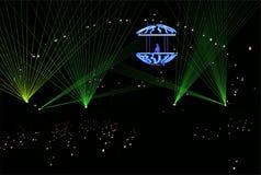 DJ no vetor dos raios laser Fotos de Stock Royalty Free