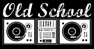 DJ old school. DJ mixer with vinyl records on a black background with the inscription Stock Illustration