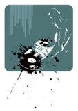 DJ op abstracte achtergrond Stock Afbeelding