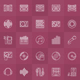 DJ outline icons set Stock Photography