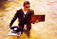 DJ in overzees royalty-vrije stock foto