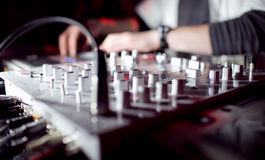 Dj Panel Music. The image of a vinyl DJ's deck color on color background stock photo