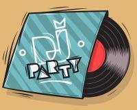 DJ-Partei-Plakat-Design mit Vinylaufzeichnungs-Paket-Illustration Stockfotografie
