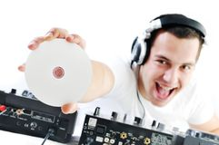 Dj party. Young dj man with headphones and compact disc dj equipment Stock Images