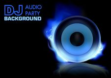 DJ Party Background. With Burning Loudspeaker - Abstract Illustration, Vector Royalty Free Stock Images