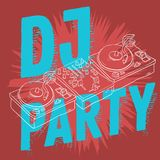 Dj Party Design For Your Poster With A Dj Sound Mixer And Turntables Drawing Not Isolated. Artistic Cartoon Hand Drawn Royalty Free Stock Image