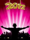 DJ party new year party 2012. New Year background with DJ entertaining crowd on a pink background stock illustration