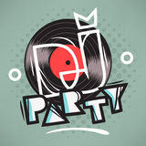 DJ Party Poster Design With Vinyl Record Illustration Stock Photo