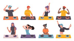 Free DJ People On Musical Party Vector Illustration Set, Cartoon Flat Man Woman DJ Characters Making Contemporary Music In Stock Image - 192071181