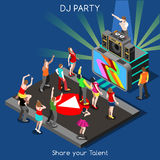 DJ Performance People Isometric Royalty Free Stock Photography